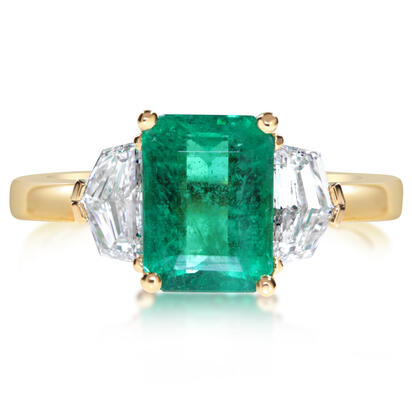 18K Yellow Gold Brazilian Emerald/Diamond Ring | RE0OC100186E