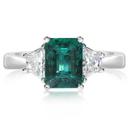 18K White Gold Emerald/Diamond Ring