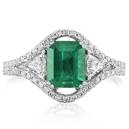 18K White Gold Zambian Emerald/Diamond Ring | RE0OC220225QI