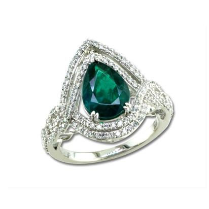 18K White Gold Emerald/Diamond Ring | RE0PR0650190QI