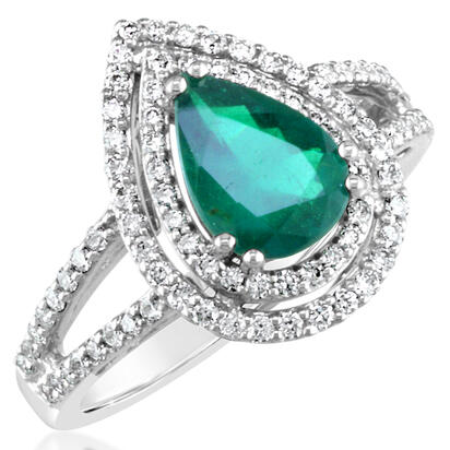 18K White Gold Brazilian Emerald/Diamond Ring | RE0PR280117QI
