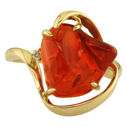 14K Yellow Gold Fire Opal/Diamond Ring | RFO258-3I