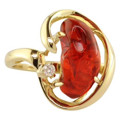 14K Yellow Gold Fire Opal/Diamond Ring | RFO259-6I