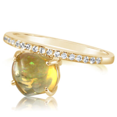 14K Yellow Gold Mexican Fire Opal/Diamond Ring | RFOFF100189C
