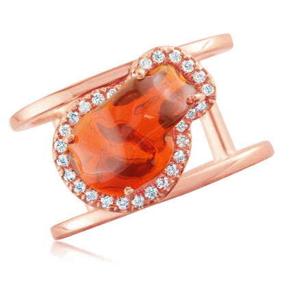 14K Rose Gold Mexican Fire Opal/Diamond Ring | RFOFF100274R