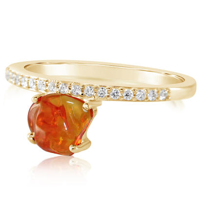14K Yellow Gold Mexican Fire Opal/Diamond Ring | RFOFF150060C