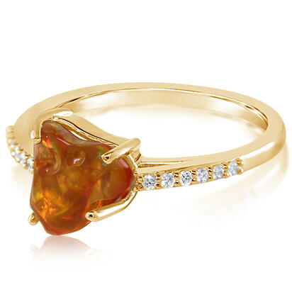 14K Yellow Gold Mexican Fire Opal/Diamond Ring | RFOFF150142C