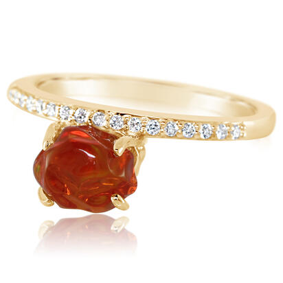 14K Yellow Gold Mexican Fire Opal/Diamond Ring | RFOFF150156C