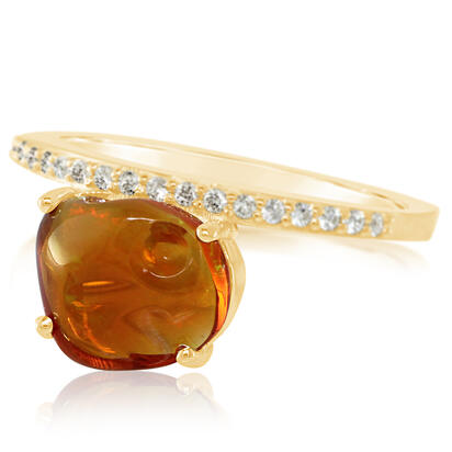 14K Yellow Gold Mexican Fire Opal/Diamond Ring | RFOFF150186C