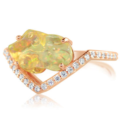 14K Rose Gold Mexican Fire Opal/Diamond Ring | RFOFF150186R
