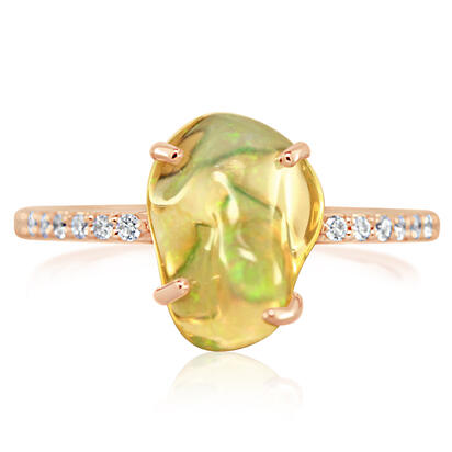 14K Rose Gold Mexican Fire Opal/Diamond Ring | RFOFF150275R