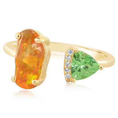 14K Yellow Gold Mexican Fire Opal/Mint Garnet/Diamond Ring | RFOFF200129C