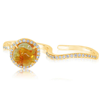 14K Yellow Gold Mexican Fire Opal/Diamond Ring | RFOFF200214C