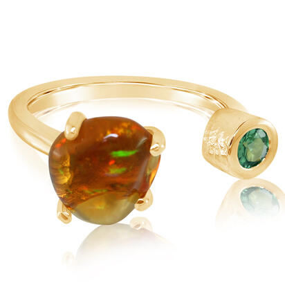 14K Yellow Gold Mexican Fire Opal/Mint Garnet Ring | RFOFF200234C