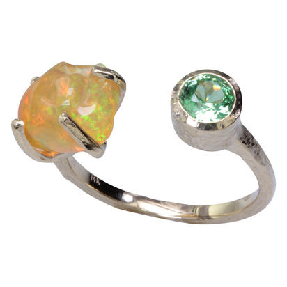 14K Yellow Gold Mexican Fire Opal/Mint Garnet Ring | RFOFF200254C