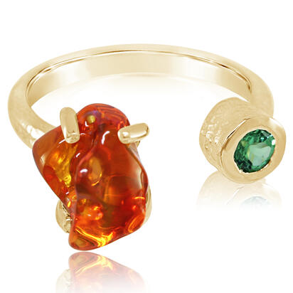 14K Yellow Gold Mexican Fire Opal/Mint Garnet Ring | RFOFF200268C
