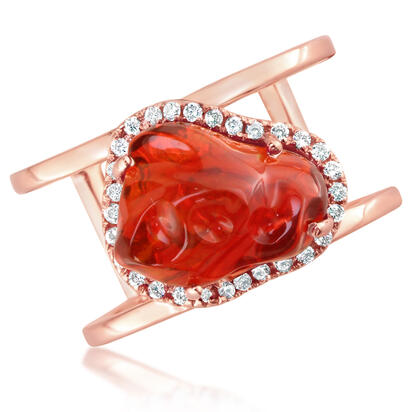 14K Rose Gold Mexican Fire Opal/Diamond Ring