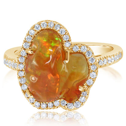 14K Yellow Gold Mexican Fire Opal/Diamond Ring | RFOFF200350C