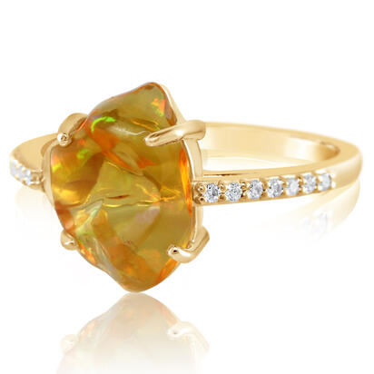 14K Yellow Gold Mexican Fire Opal/Diamond Ring | RFOFF250217C