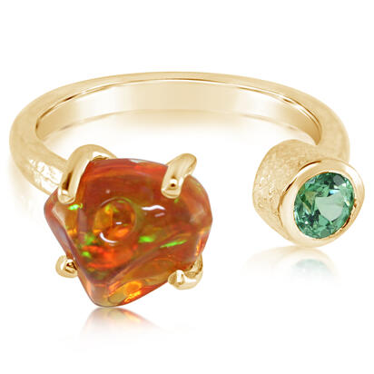 14K Yellow Gold Mexican Fire Opal/Mint Garnet Ring | RFOFF250233C