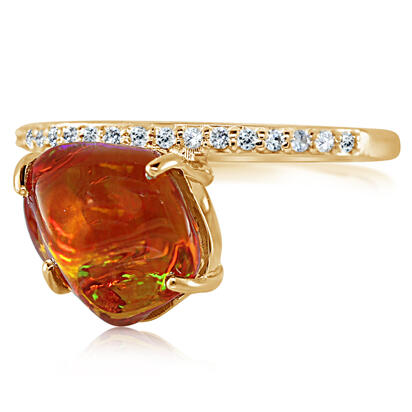 14K Yellow Gold Mexican Fire Opal/Diamond Ring | RFOFF250311C