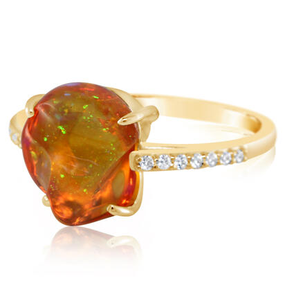 14K Yellow Gold Mexican Fire Opal/Diamond Ring | RFOFF250362C