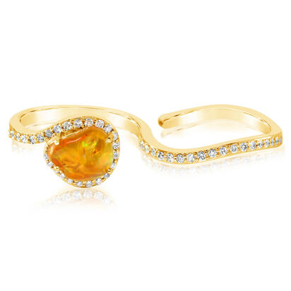 14K Yellow Gold Mexican Fire Opal/Diamond Ring | RFOFF400160C
