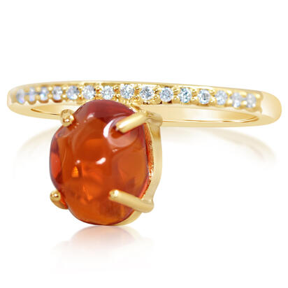 14K Yellow Gold Mexican Fire Opal/Diamond Ring