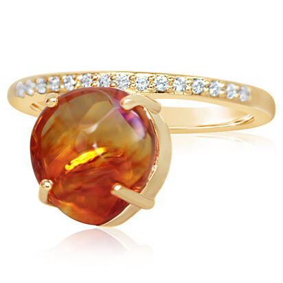14K Yellow Gold Mexican Fire Opal/Diamond Ring | RFOFF40249C