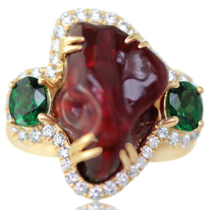 18K Yellow Gold Mexican Fire Opal/Diamond Ring | RFOFF700732EI