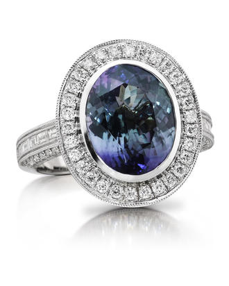 14K White Gold Peacock Tanzanite/Diamond Ring | RFTOV825552WI