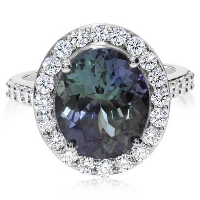 14K White Gold Peacock Tanzanite/Diamond Ring | RFTOV850582WI