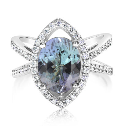 14K White Gold Peacock Tanzanite/Diamond Ring | RFTOV875341WI