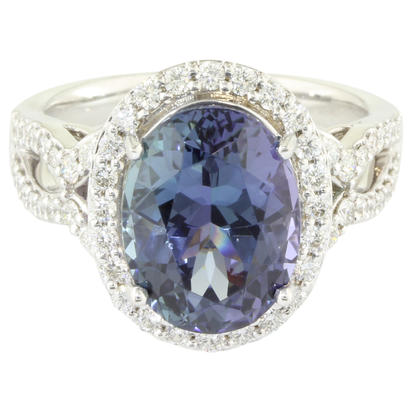 18K White Gold Peacock Tanzanite/Diamond Ring | RFTOV875548QI