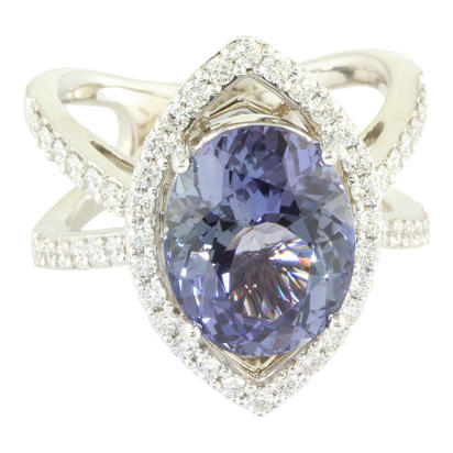 18K White Gold Peacock Tanzanite/Diamond Ring | RFTOV875588QI