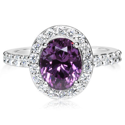 14K White Gold Color Changing Garnet/Diamond Ring | RGCOV650310WI