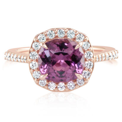 14K Rose Gold Purple Garnet/Diamond Ring