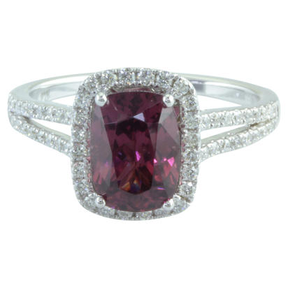 14K White Gold Grape Garnet/Diamond Ring