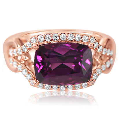 14K Rose Gold Purple Garnet/Diamond Ring | RGPCU800437RI
