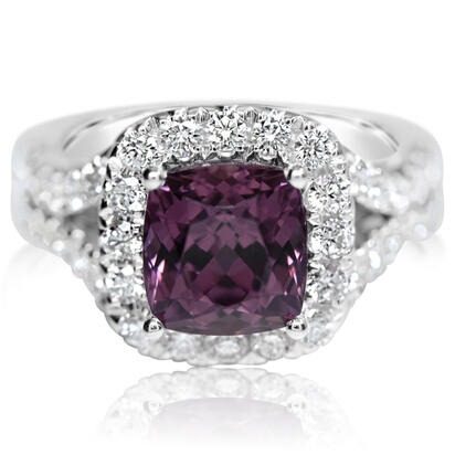 14K White Gold Purple Garnet/Diamond Ring | RGPCU880412WI