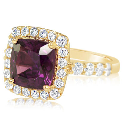 14K Yellow Gold Purple Garnet/Diamond Ring | RGPCU892472CI