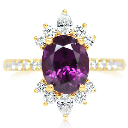 14K Yellow Gold Purple Garnet/Diamond Ring | RGPOV850348CI