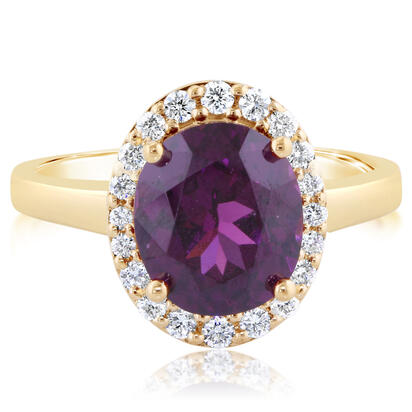 14K Yellow Gold Purple Garnet/Diamond Ring | RGPOV850371C