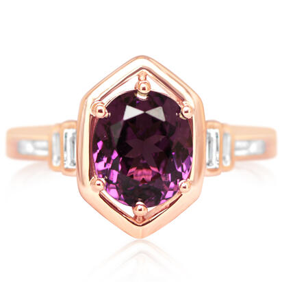 14K Rose Gold Purple Garnet/Diamond Ring | RGPOV892210RI