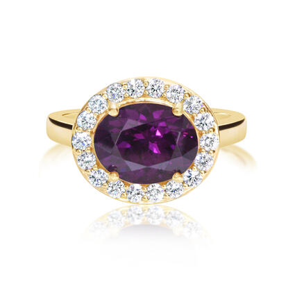 14K Yellow Gold Purple Garnet/Diamond Ring | RGPOV892315CI