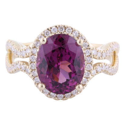 14K Yellow Gold Purple Garnet/Diamond Ring | RGPOV920369C