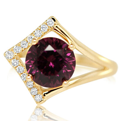 14K Yellow Gold Purple Garnet/Diamond Ring | RGPRD700336CI