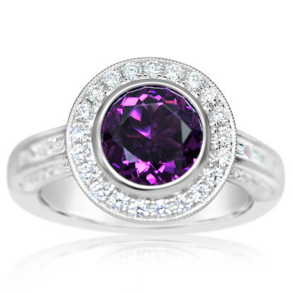 14K White Gold Purple Garnet/Diamond Ring | RGPRD892257WI