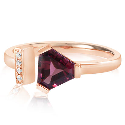14K Rose Gold Rhodolite Garnet/Diamond Ring | RL2FS990112RI