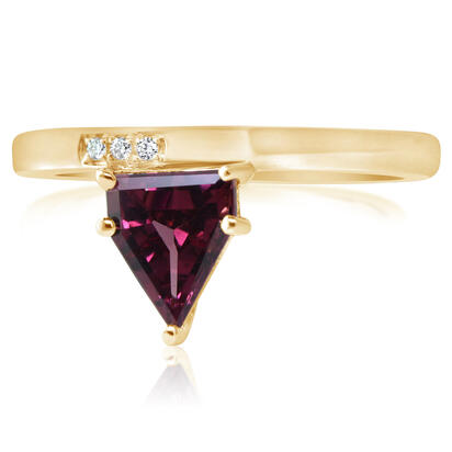 14K Yellow Gold Rhodolite Garnet/Diamond Ring | RL2FS990118CI